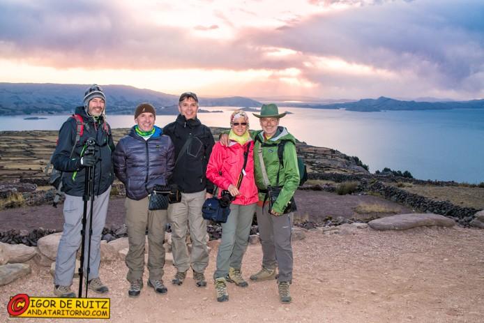Il tramonto sul lago Titicaca